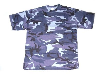 Tee shirt coton camouflage sky blue